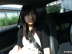 Petite Asian chick swallows a hairy boner in the car