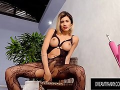 Hot Blonde Tgirl Dani Peterson Gets Drilled by Dildo and Equipment