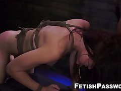 Gagged redhead whipped during rough penetration