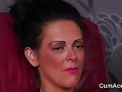 Horny model gets cumshot on her face swallowing all the jizm