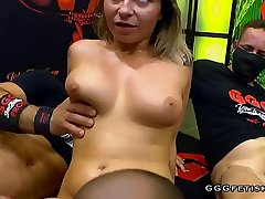 Busty tattooed blonde shows gangbang with swallowing
