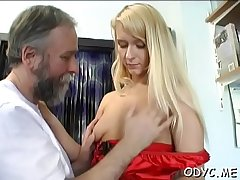 Slender amateur floozy gets licked and rides an old dick wildly