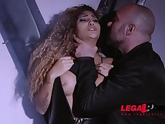 Submissive latex lover Venus Afrodita gagged, spanked &amp_ fucked by dominator GP382