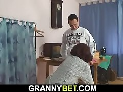 70 lifetime age-old woman enjoys riding his young cock