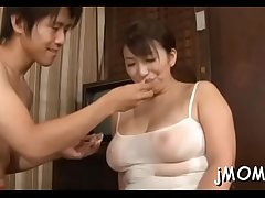 Kinky japanese patriarch licks her lover give his body