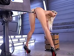Blonde in fishnet pantyhose fucks machine