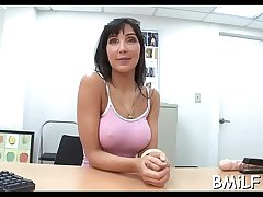 Nasty milf takes off pants to get pussy stimulated