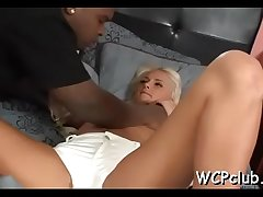 Cutie masturbates and gets chocolate rod in her soaked snatch