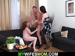 Busty mother here law rides his hard young cock