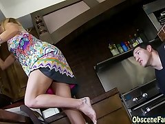 Exploitatory son peeks under step mom'_s skirt