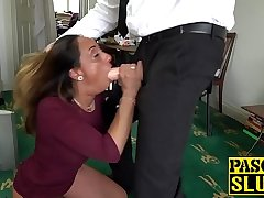 Submissive UK MILF chokes on a dildo and receives ass be crazy