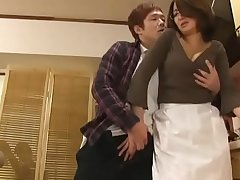 Asian mom forced swell up and titfuck in kitchen