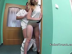 Blonde masturbates in doctors bathroom