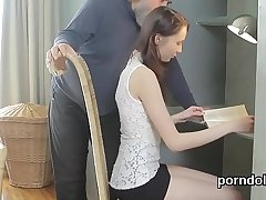 Cute schoolgirl was tempted and fucked by her old teacher