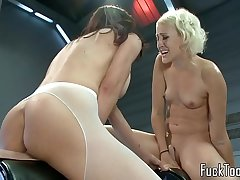 Squirting lesbian babes pussy toyed at the end of one's tether gadgetry