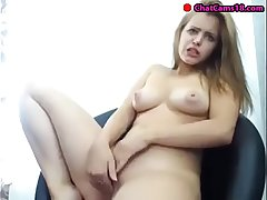 very pretty girl rubs her pussy till such time as she squirts