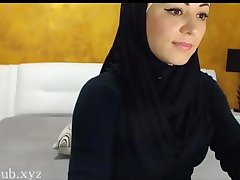 Arab hijab slut strip  &_ masturbation upstairs cam