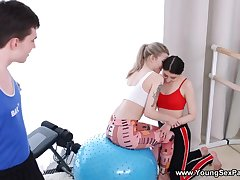 Gym is just along to place to have 3some with two teens