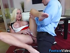 Feet worshipped office ho