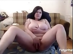 Fat girl fingering with chubby boobs