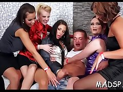 Chap gets his dick soaking by multiple cock hungry babes