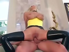 blonde maid in latex fuck guy and cum in her mouth