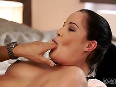 DADDY4K. Dirty girl allows BF'_s daddy ejaculate on will not hear of pretty face