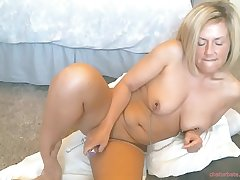 My best friends pierced blonde mother caught on cam while masturbating