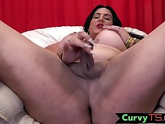 Busty tranny babe touches her cock